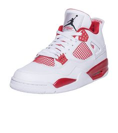 "JORDAN Retro 4 ""Alternate '98"" sneaker Men's low top shoe Lace up closure Premium leather upper Padded tongue with AIR JORDAN jumpman flight logo graphic Signature mesh grate detail on side of kicks Cushioned inner sole for comfort Traction rubber outsole for ultimate performance University Red accenting throughout"