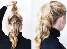 Or you can double up on actual ponytails. Separate your hair into two sections, tie off the top portion, and then tie off the bottom half. The first pony will fall on top of the second pony, camouflaging it and leaving you with the illusion of one fuller, longer ponytail.
