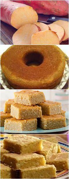 BOLO DE BATATA DOCE, DELICIOSO COM UM CAFEZINHO HUMMM!! VEJA AQUI>>>Cozinhe a batata, amasse e reserve No liquidificador ou batedeira coloque os ovos e açúcar, bate e adicione a margarina, batata doce cozida e farinha de trigo e o leite #receita#bolo#torta#doce#sobremesa#aniversario#pudim#mousse#pave#Cheesecake#chocolate#confeitaria