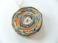 OOAK Rolled Recycled Magazine Paper Circle by HeidiKindFinds, $14.00