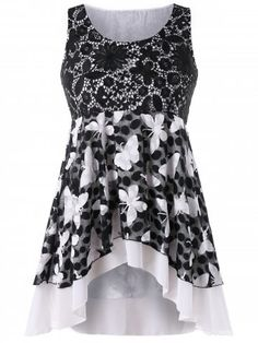 252a1638760 Shop for Black 5x Plus Size Lace Trim High Low Tank Top online at  24.12 and