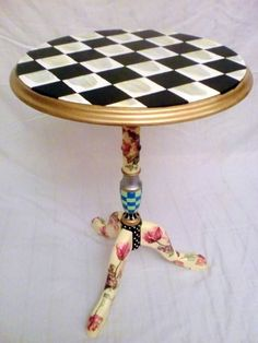 black check painted table