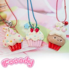 Wear your passion for cupcakes. The pendants are entirely handmade and decorated with a frosty so realistic that they'll make you feel hungry!  Find it on www.Delicute.com