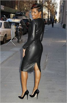 Keke Palmer, wearing a curve-hugging black leather dress, leaves 'The View' in NYC, following her appearance as a guest co-host. Pictured: Keke Palmer Ref: SPL912873 151214 Picture by: Fortunata/Splash News Splash News and Pictures Los Angeles:310-821-2666 New York:212-619-2666 London:870-934-2666 photodesk@splashnews.com