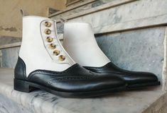 Handmade Men's Wing Tip Brogue Leather Boot, Men's Black White Ankle High Button Top Boot<br /><br />Upper material leather<br />Interior Soft leather lining<br />Sole Leather sole<br />leather Boot<br />Handling time 10 days White Leather Boots, White Boots, Soft Leather, Wingtip Shoes, Brogues, Chelsea Shoes, Studded Jacket, High Ankle Boots, Black And White Man