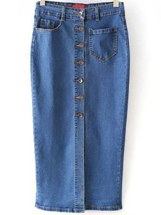 Blue Single Breasted Pockets Denim Skirt , High Quality Guarantee with Low Price!
