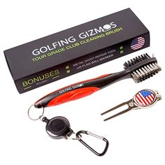 Golf Club Brush Cleaner  Premium Tour Grade and Heavy Duty  Ideal Golf Gift For Golfers  Bonus Golf Divot Tool  Golfing Gizmos  The PERFECT Gift For The Golfer Who Cares About Their Game.    Every Detail Designed BY Golfers FOR Golfers.    A Quick, Simple Solution to Better Contact on Every Shot!    MOST GOLF CLUB BRUSHES TODAY ARE:  – Cheaply made and bend/break after a few rounds  – Limited in features (only 1 bristle type, no groove spike, no retractable extension cord)  – Unco..