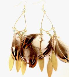 Make your own animal print earrings. The Etelage DIY kits: used 40mm teardrop earring part & embellished it with Swarovski crystal bicones & pheasant tiger print feathers.