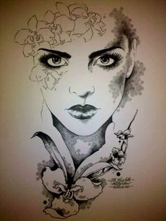 """My portrait of """"Stefanie"""" pen and ink"""