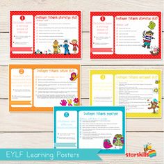 Here are the Starskills EYLF Learning Posters for you. A simple way to involve and develop your community in appreciating … Learning Stories, Learning Resources, Teacher Resources, Preschool Learning, Kindergarten Classroom, Teaching, Reggio, Family Day Care, School Info