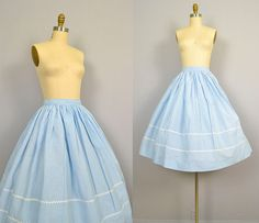 1950s Circle Skirt / 50s Blue Gingham Cotton Circle Skirt with Ric Rac Trim. $62.00, via Etsy.