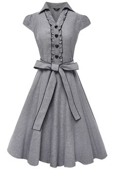 Women's 1950s Cap Sleeve Swing Vintage Party Dresses Grey Large:Summer Fashion: Spring Outfits:Casual Outfits:Cute Outfits: Summer Outfits: Spring Outfits:Spring Outfits