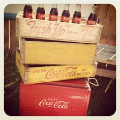 crates, crates, and more crates.{orange trunk} has lots! Vintage Crates, Vintage Furniture, Old Things, Farmhouse, Times, Orange, Bottle, Flask, Cottage