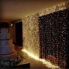 cortina 300 leds 3x3m luz amarela 220v decoração de festas