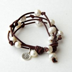 Multistrand Leather Pearl Bracelet. Rustic Brown by SunlightSilver