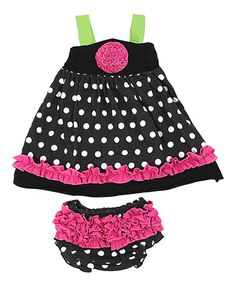 Look at this Lila Black & Hot Pink Polka Dot Ruffle Top & Bloomers - Infant on #zulily today!