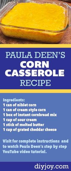 How to Make Corn Casserole - Homemade Corn Casserole Recipe by Paula Deen - Pinterest Pin for Easy Southern Cooking Idea - Quick Side dish Ideas for Dinner Quick Side Dishes, Side Dish Recipes, Vegan Dishes, Food Dishes, Sweet Corn Fritters, Great Recipes, Favorite Recipes, Bread Appetizers, Casserole Dishes