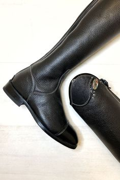 Ride in style in the Der Niro Salentino Riding Boots with Black Glitter Top. Handcrafted from soft, textured calfskin leather, these boots feature a full length zip with zip stop, an elastic panel down the back of the boot. Glitter Top, Black Glitter, Horse Riding Boots, Horses, Zip, How To Wear, Leather, Style, Fashion