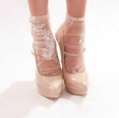 Shimmering Tulle and Lace Appliqué Socks with by UmaKangai on Etsy, £25.00