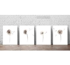 Dandelion Watercolor Art Print set of 4 Paintings. Brown Taupe Botanical Living Room Decor Gift Idea. Minimalist Abstract Nursery Art Print. Beige Floral Illustration. A price is for the set of 4 different Dandelion Art Prints as in the first Picture.  Type of paper: Prints up to (42x29,7cm) 11x16 inch size are printed on Archival Acid Free 270g/m2 White Watercolor Fine Art Paper and retains the look of original painting. Larger prints are printed on 200g/m2 White Semi-Glossy Poster...