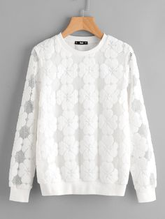 To find out about the Floral Flock Mesh Sweatshirt at SHEIN, part of our latest Sweatshirts ready to shop online today! Cool Outfits, Fashion Outfits, Pretty Shirts, Knitted Coat, Dress Shirts For Women, Blouse And Skirt, Kawaii Clothes, Western Dresses, Cute Tops