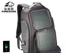 Kingsons Mini Backpack Men Women Solar USB Charging Anti Theft Bagpack Inch  Laptop Back Pack for Teenager Boys Travel Bag-. 9d47889a4b0f3