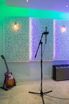 Church Studios. Angled panels with lighting built in