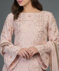 Best 12 Nude Pink Hand Embroidered Rose Gold Gota Patti Suit With Dupatta Indian Party Wear, Indian Wedding Outfits, Indian Outfits, Bridal Outfits, Dress Wedding, Stylish Dresses, Women's Fashion Dresses, Dresses For Work, Kurti Embroidery Design
