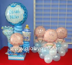 Ideas For Baby Boy Shower Centerpieces - Baby Shower! Fiesta Baby Shower, Boy Baby Shower Themes, Baby Shower Balloons, Baby Shower Cakes, Baby Boy Shower, Baby Shower Gifts, Juegos Baby Shower Niño, Mesas Para Baby Shower, Baby Shower Centerpieces