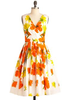 Modcloth Glamour Power To You Dress in Flower Bed
