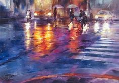 Lin Ching-Che, born 1987 created a series of street water paintings depicting people walking in the rainy days.