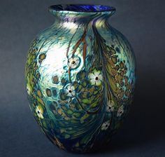 Richard Golding Station Glass Round Blue Vase With Cane Flowers http://www.bwthornton.co.uk/isle-of-wight-richard-golding-bath-aqua-glass.php