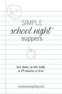 Does the school year have you panicking about what to make for dinner? It shouldn`t! These 5 simple school night suppers are perfect for busy weeknights, and won`t leave you stranded in the kitchen all afternoon. They`re kid-friendly and parent-approved, and go from grocery bag to dinner table in 29 minutes or less!