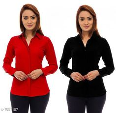 Shirts Trendy Poly Crepe Women's Shirts ( Pack Of 2)  *Fabric* Poly Crepe  *Sleeves* Sleeves Are Included  *Size* S - 36 in, M - 38 in, L - 40 in, XL - 42 in  *Length* Up To 24 in  *Type* Stitched  *Description* It Has 2 Pieces Of Women's Shirt  *Pattern* Solid  *Sizes Available* S, M, L, XL *   Catalog Rating: ★3.9 (117)  Catalog Name: Ladies Polycrepe Shirts Combo Vol 2 CatalogID_128001 C79-SC1022 Code: 205-1051107-