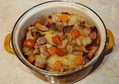 Krumplis-húsos egytál, egy kis zöldséggel recept foto Cheeseburger Chowder, Grilling, Oatmeal, Pork, Tasty, Breakfast, Map, The Oatmeal, Kale Stir Fry