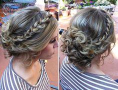 Prom hair !! - curly hair, messy bun, low bun, plait, braid