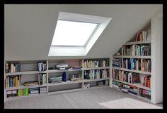 We love how this loft conversion creates a reading nook with loads of storage --- werkkamer-zolder-opbergruimte-boekenkast-slim-veluxraam-velux-licht Loft Storage, House, Home, Bedroom Loft, House Styles, Loft Room, Loft Spaces, Loft Conversion Bedroom, Renovations