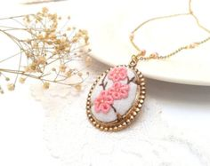 Necklace floralViolet hand embroidered pendant by ConeBomBom