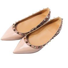 Amazon.com | Katypeny Womens Rivet Stud Slip On Pointed Toe Loafers... (52 CAD) ❤ liked on Polyvore featuring shoes, loafers, slip on shoes, flat shoes, patent flats, nude flat shoes and patent leather flats