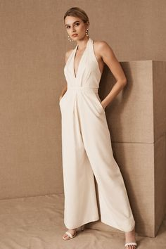 Jill Stuart Mara Jumpsuit In Ivory by Jill Stuart - Ivory - Size: 16 How To Dress For A Wedding, V Neck Wedding Dress, White Wedding Dresses, Wedding Shoes, Wedding Attire, White Lace Jumpsuit, White Dress, Plus Size White Jumpsuit, Wedding Jumpsuit