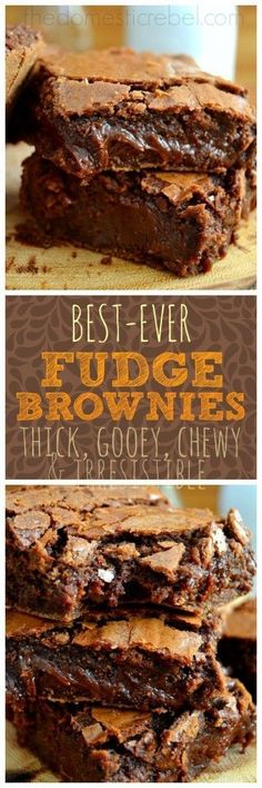 Brownie Recipes 462041243022457823 - These supremely fudgy, foolproof and so easy fudge brownies truly are the BEST ever! You won't need another brownie recipe after trying this one! Source by chloebernier Just Desserts, Delicious Desserts, Dessert Recipes, Yummy Food, Cake Recipes, Dessert Ideas, Yummy Treats, Sweet Treats, Chocolate Desserts