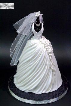 Wedding Dress Cake by MLADMAN - http://cakesdecor.com/cakes/240238-wedding-dress-cake