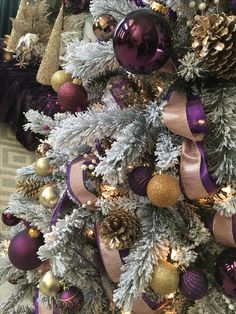 Purple, rose gold, pink, white Christmas tree.