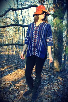 Navy Hand Embroidered Mexican Top Blouse by WonderlandRevival, $55.00