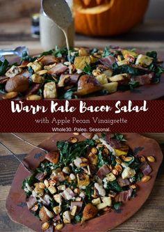 Warm Kale Bacon Salad with Apple Vinaigrette (Whole30, Paleo) thecastawaykitchen.com #paleo #thanksgiving #whole30