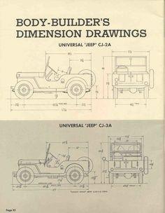 Jeep CJ-2A and CJ-3A dimensions