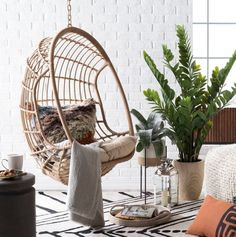 Make your porch seating collection a little more bright and breezy with the Belham Living Bali Resin Wicker Hanging Egg Chair with Cushion and Stand. Hanging Egg Chair, Swinging Chair, Outdoor Hanging Chair, Outdoor Dining, Patio Furniture Sets, Furniture Decor, Outdoor Furniture, Modern Furniture, Furniture Layout