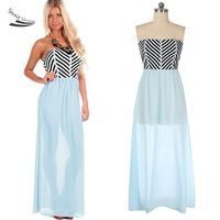 High Quality Summer Dresses Striped Splicing Long Chiffon Dress Strapless Beach Maxi Dress Feminine Plus Size 35