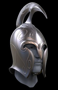 Organic Hard Surface Exercise // Fan Art // LOTR Elven Helmet Weta Design made famous by LOTR and Hobbit Trilogies. Elf Armor, Knight Armor, Lotr Elves, Warrior Helmet, Knights Helmet, High Elf, Norse Vikings, Elvish, Fantasy Armor