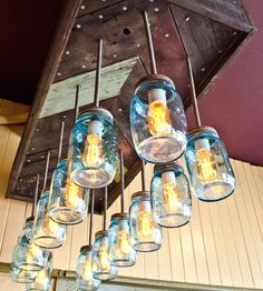 Waylon Reclaimed Wood & Mason Jar Chevron Chandelier  in Lighting by Red Picket Fence on Scoutmob Shoppe.
